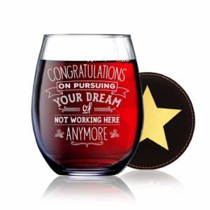 going away wine glass gift